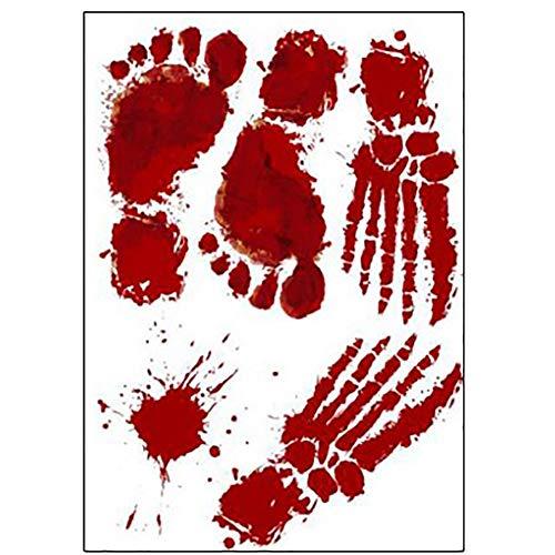 Handfly Halloween Blood Handprint Blood Footprint Sticker Horror Decoration Sticker Mural Art Decal Festival Party Supplies]()