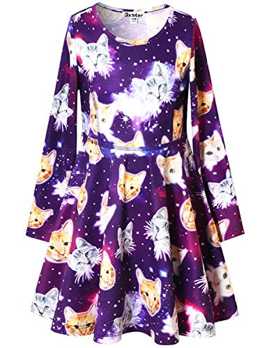 Girl Cat Costumes (Star Cat Dresses for Girls Long Sleeve Swing Halloween Costume Outfits 4t)