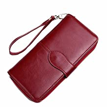 NiNE CiF Women RFID Blocking Wallet Clutch Genuine Leather Bifold Long Zipper Purse