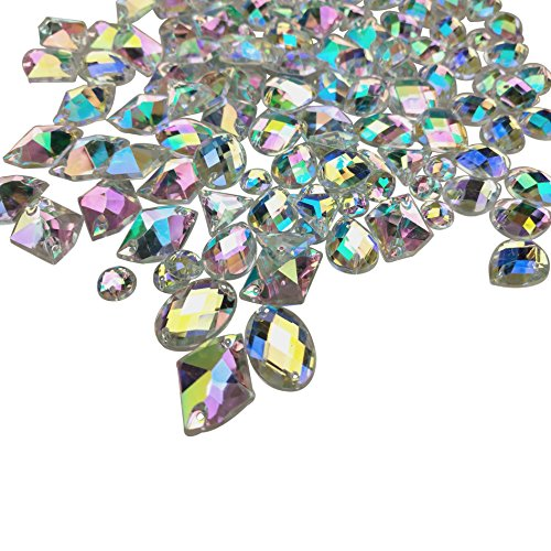 200PCS Crystal Gems AB Acrylic Flatback Sew On Diamante Rhinestones with Mixed Shapes for DIY Crafts Handicrafts Clothes Bag Shoes Decorations by CSPRING by CSPRING