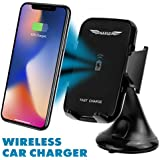 KARUS Fast Wireless Car Charger Car Phone Mount 1.5X Faster Charging Easy Mount Unmount Dashboard Windshield Phone Holder be it iPhone, 8, 8 plus, X, Samsung Galaxy S9, Plus, Edge