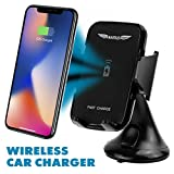 Fast Wireless Car Charger Car Phone Mount 1.5X Faster Charging Easy Mount and Unmount Dashboard or Windshield Phone Holder be it iPhone, 8, 8 plus, X, Samsung Galaxy S9, Plus, Edge