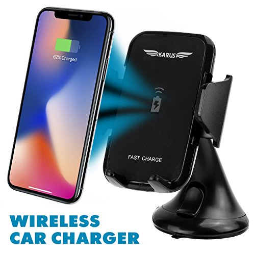Fast Wireless Car Charger Car Phone Mount 1.5X Faster Charging Easy Mount and Unmount Dashboard or Windshield Phone Holder be it iPhone, 8, 8 plus, X, Samsung Galaxy S9, Plus, Edge by KARUS