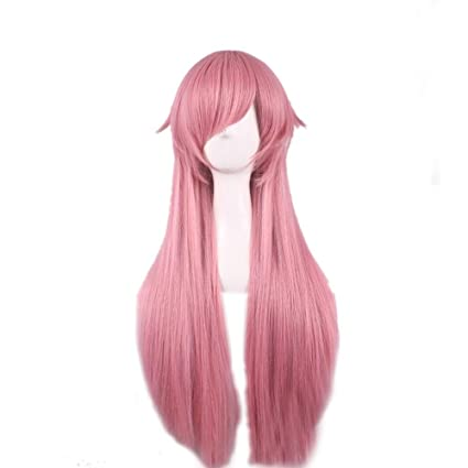 The Future Diary / Mirai nikki Gasai Yuno Cosplay peluca Rosa flequillo oblicuo largo recto Anime