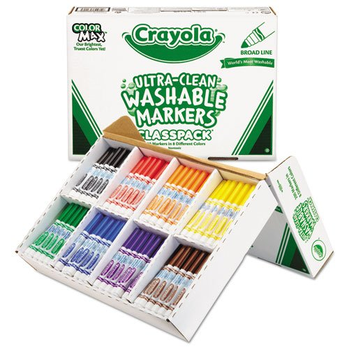 Washable Classpack Markers, Broad Point, Assorted, 200/Box, Sold as 200 Each