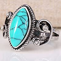 Nongkhai shop 925 Silver December Birthstone Ring Oval Turquoise Women Men Wedding Size 6-10 (10)