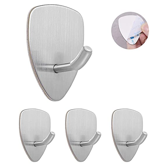 Self Adhesive Hooks, 4 Pack Of Waterproof And No Drill Needed For Kitchen Bathroom Bedroom Office by Knoeksy