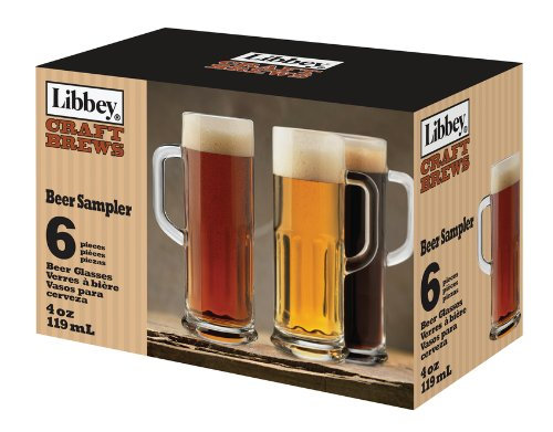 (Libbey Craft Brews 4-Ounce Clear Beer Sampler Glass Set, 6-Piece)
