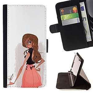 Momo Phone Case / Flip Funda de Cuero Case Cover - Cóctel Beber alcohol Chica Mujer club - Samsung Galaxy Core Prime