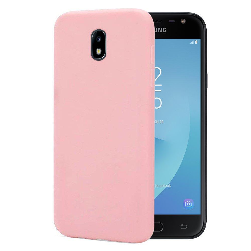 Leton 6X Funda para Samsung J3 2017 Silicona Ultrafina Case Suave Flexible TPU Carcasa Galaxy J330 Ultra Delgado Gel Caja Anti Choque Candy Cubierta Jalea Protectora Bumper Negro Rojo Verde Rosa