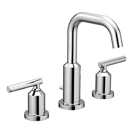 Moen T6142 Gibson Two-Handle Widespread High Arc Chrome Bathroom ...