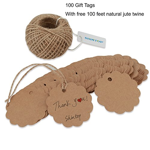 Shintop 100PCS Kraft Paper Gift Tags Bonbonniere Favor Round Gift Tags with Free 100 Feet Natural Jute Twine (Flower Paper - Round Brown Free