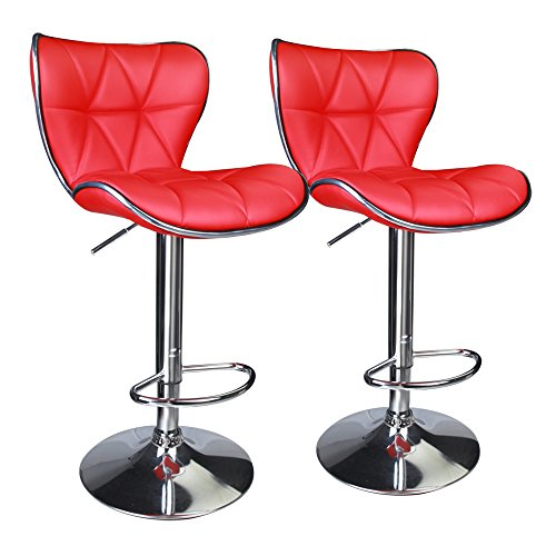 Leopard Shell Back Adjustable Swivel Bar Stools , Leather Padded with Back, Set of 2 (Red)