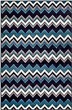 New Summit Elite S 66 Navy Blue Chevron Design Modern Abstract Area Rug (2x3 Door mat Actual is 22 inch x 35 inch)