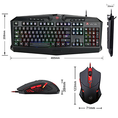 Gaming Mouse Gaming Keyboard Combo S101 Redragon RGB LED Backlit Keyboard and Mouse Set M601 Gaming Mouse and Keyboard Silent 104 Key Computer PC Gaming Keyboard with Wrist Rest (New Improved Version)