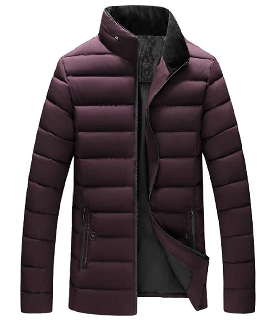 YUNY Men Thicken Zipper Stand up Collar Relaxed-Fit Parka Jacket Coat Outwear Wine Red XL