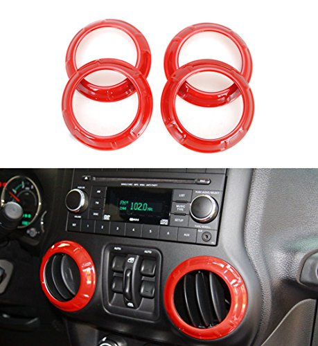 Bolaxin 4pcs /Set ABS Interior Air Condition Outlet Vent Cover Trims for Jeep Wrangler 2007-2016 Red