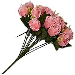 18 Heads Silk Pink Rose Flower Bouquet Valentine's Day Gift