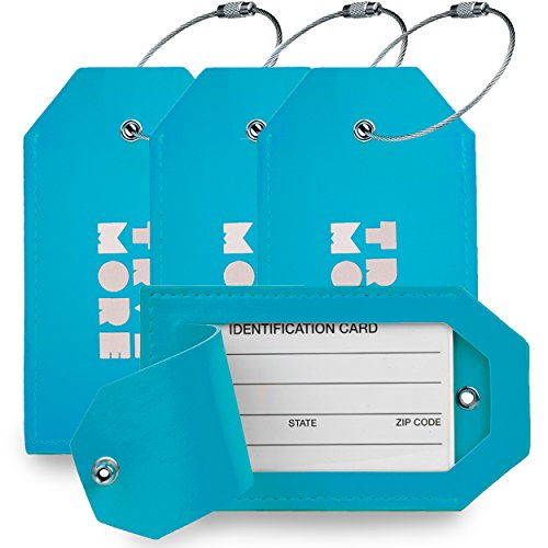 4 Pack TravelMore PU Leather Luggage Tags For Suitcases w/Privacy Cover - Travel ID Identifier Labels Set For Bags & Baggage - Men & Woman - Blue (The Best Paper Plane For Long Distance)