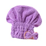 Lx10tqy Microfiber Bowknot Water Absorbent Turban Hair Hat Dry Bathing Shower Towel - Purple