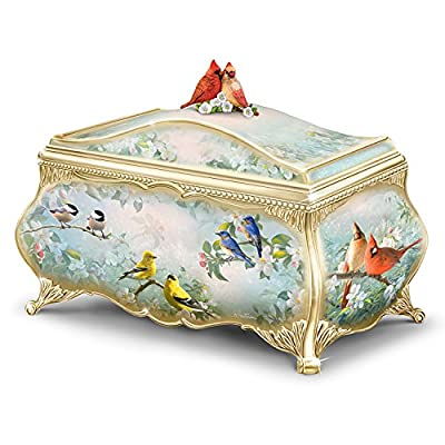 Joe Hautman Songbird Artwork Porcelain Music Box with 22K Gold Sentiment by The Bradford Exchange