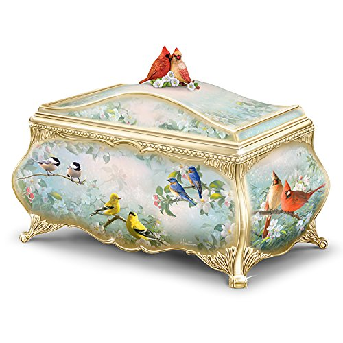 Joe Hautman Songbird Artwork Porcelain Music Box with 22K Gold Sentiment by (Ornate Hand Painted Porcelain)
