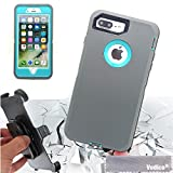 light blue and grey otterbox - For iPhone 7 Plus case, Vodico Heavy Duty Armor with Belt Clip Full Body Protective Case Shockproof Dustproof Defender Case Cover w/ Built-in Screen Protector (Light Gray Blue)