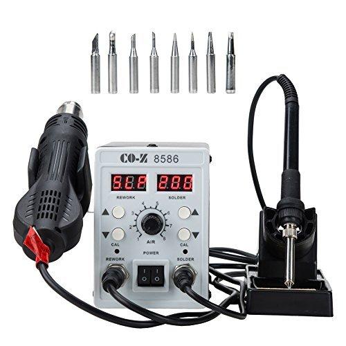 CO-Z® - Estación de soldadura SMD 2 en 1 con pistola de aire caliente, kit de soldadura eléctrica con soporte,...