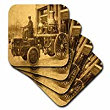 3dRose cst_16221_1 Vintage Fire Engine Steam Pumper-Soft Coasters, Set of 4
