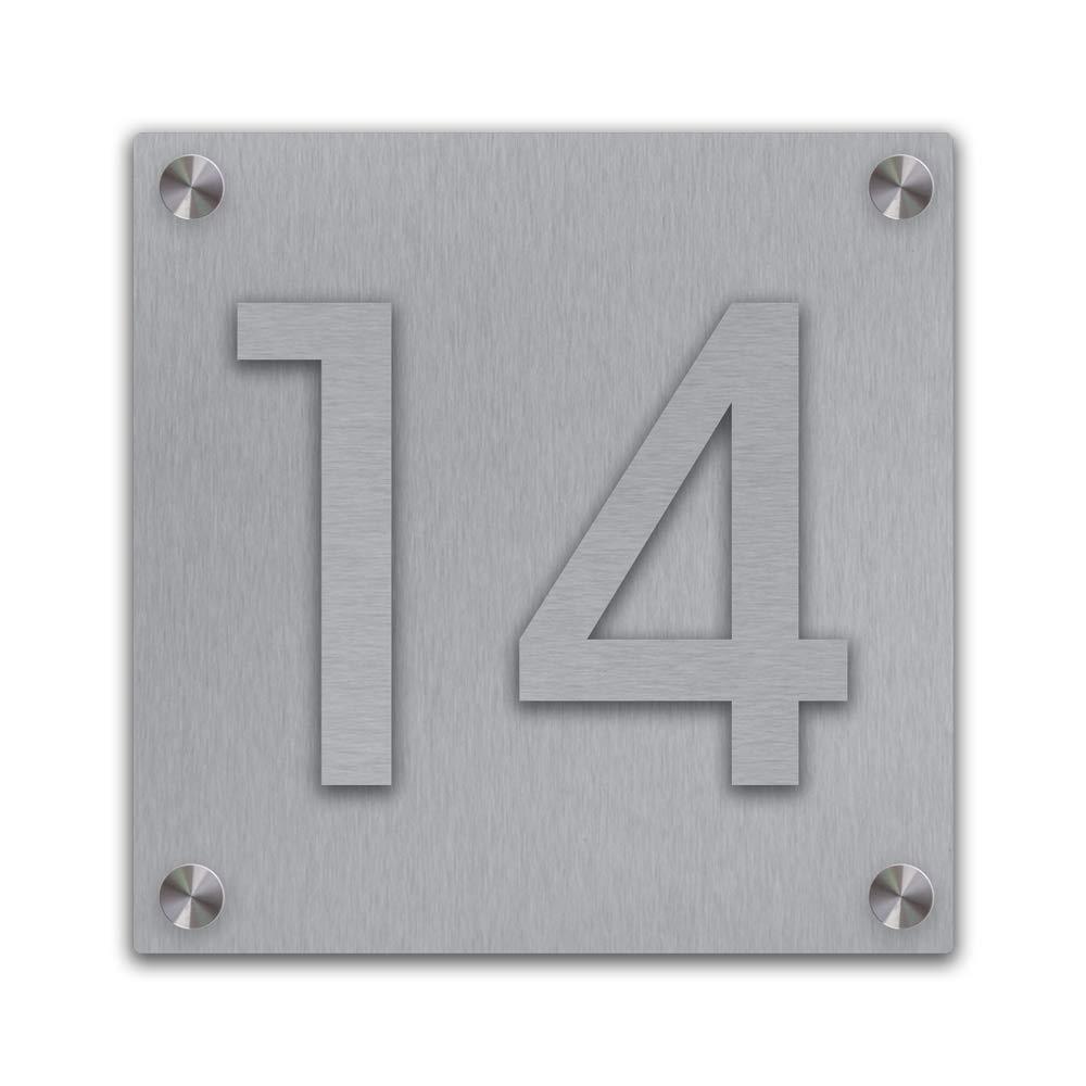 Edelstahl Hausnummernschild aufgesetzt