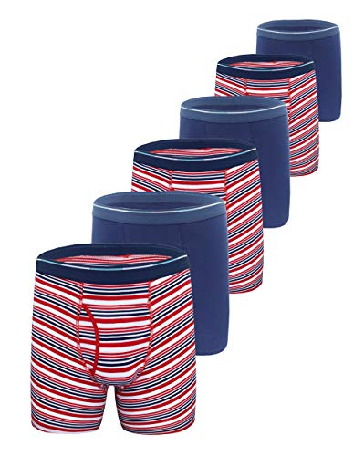 - Comfneat Men's Boxer Briefs 6-Pack S-XXL Tagless Underwear Soft Cotton Spandex (Navy + Red Stripe Pack-6, L)