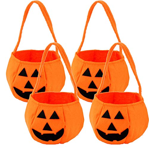 Orgrimmar 4 Pieces Pumpkin Candy Bag Trick or Treat Bags Felt Bags with Handle for Kids Halloween Costume Party