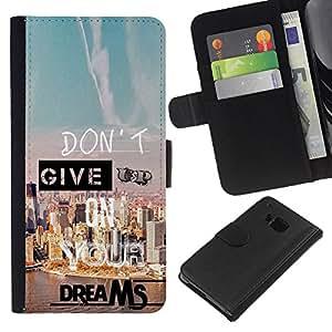 KLONGSHOP // Tirón de la caja Cartera de cuero con ranuras para tarjetas - Give Up Dreams Éxito motivación de la cita - HTC One M7 //