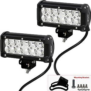 "2 Pack - EPAuto 6.5"" 36W Cree LED Light Bar Spot Beam Waterproof Mount for SUV / Boat / Jeep / Van / ATV / SUV / Offroad"