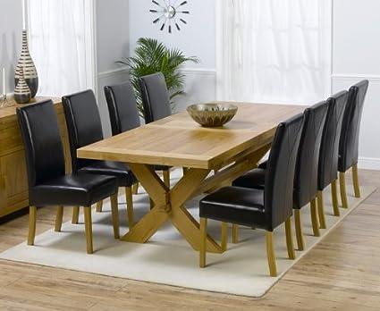 Paris de roble macizo grande mesa de comedor extensible y sillas de ...