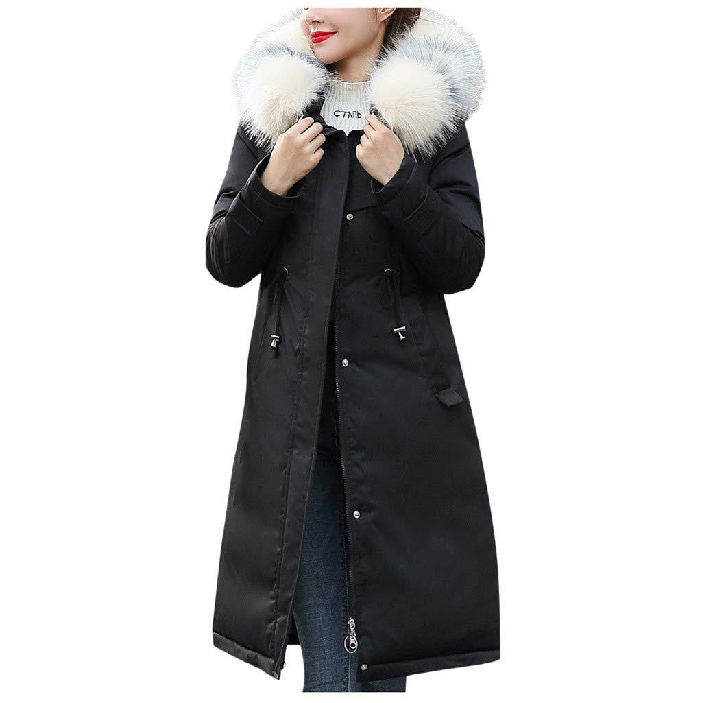 Allywit- Women Faux Suede Long Jacket Button Coat Long Solid Warm Jackets Windbreaker Coats with Big Pocket Black by Allywit- Women