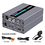 EASYCEL RCA Svideo to HDMI Converter, RCA Composite CVBS AV or Svideo + R/L Audio Input to HDMI Output Upscale Converter, Supports 720P/ 1080P Output Switch for N64, PS2, Wii, DVD