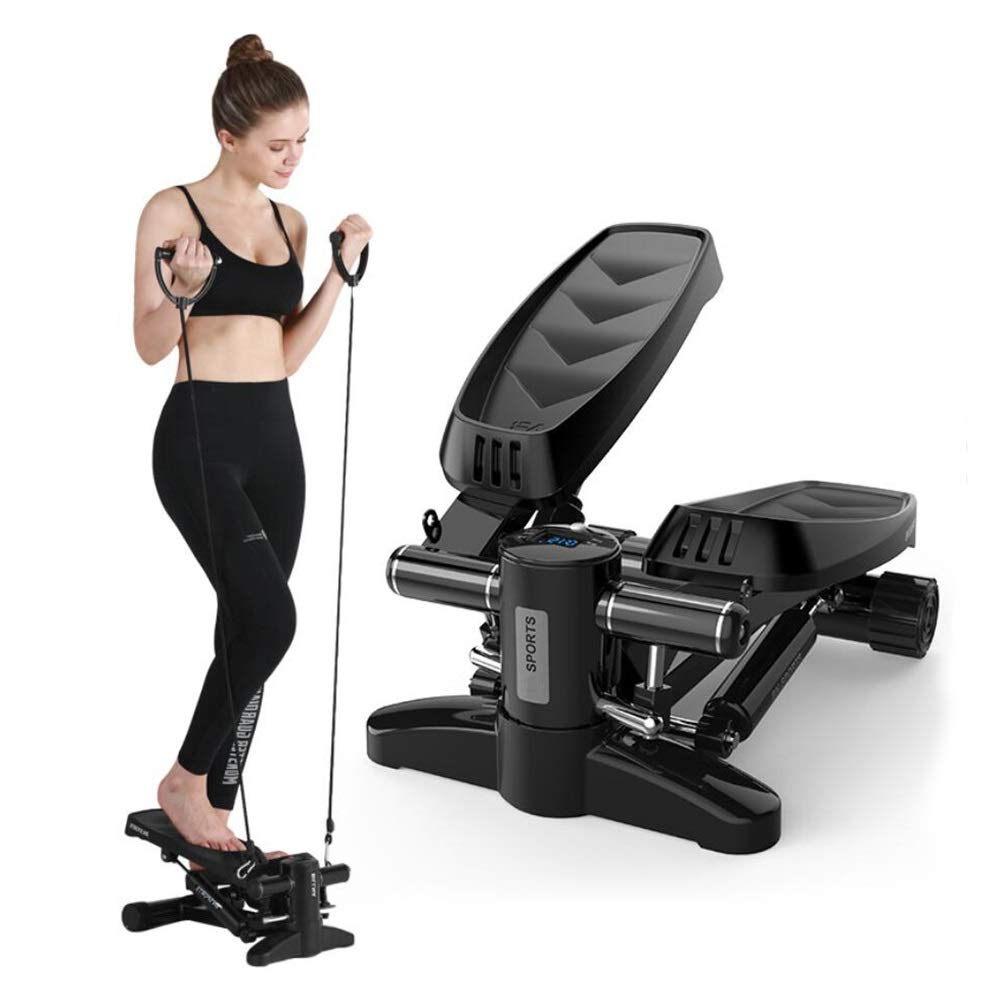 Steppers,Stepper Machine with Training Tapes, Up-Down Steppers with Multifunction Display for Beginners and Advanced Users (Black)