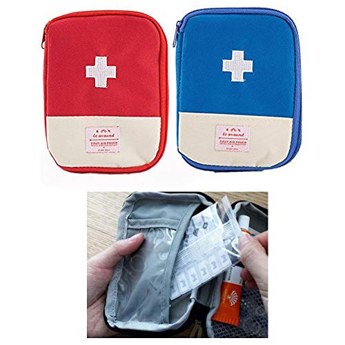 (Zaptex 2-Pack Empty First Aid Pouch for Camping Travel (Blue+Red))
