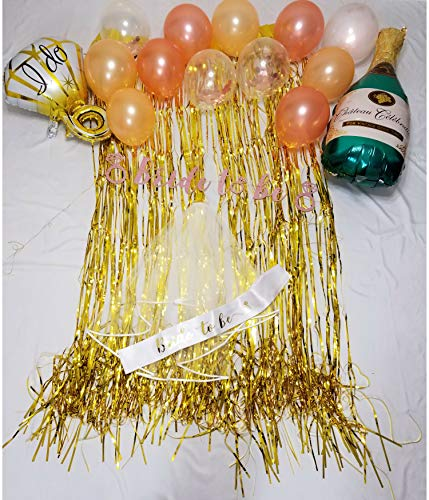 Bachelorette Party Decorations | Bridal Shower Kit | Party Supplies | Veil, Sash, Balloons, Bride to Be Banner, Gold Curtains by Superior Outlet