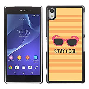 PC/Aluminum Funda Carcasa protectora para Sony Xperia Z2 D6502 D6503 D6543 L50t L50u stay cool sunglasses orange pink yellow / JUSTGO PHONE PROTECTOR