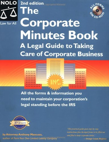the corporate minutes book a legal guide to taking care of