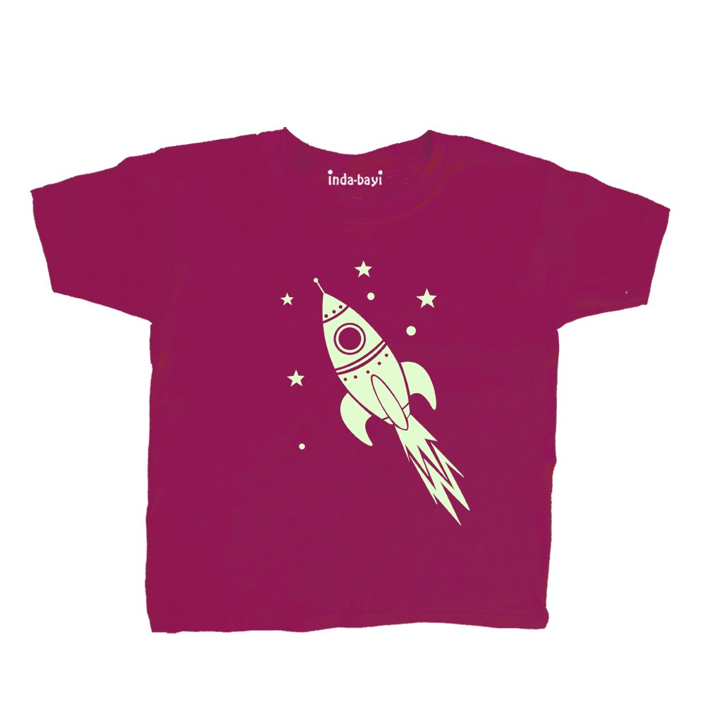 Inda-Bayi Baby-Toddler-Kids Cotton T Shirt - Glow in The Dark Rocket