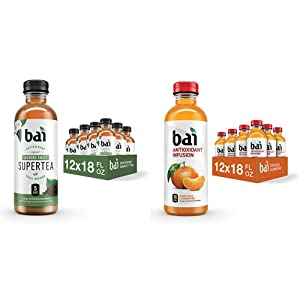 Bai Iced Tea, Socorro Sweet, Antioxidant Infused Supertea, 18 Fluid Ounce Bottles, 12 Count & Flavored Water, Costa Rica Clementine, Antioxidant Infused Drinks, 18 Fluid Ounce Bottles, 12 Count