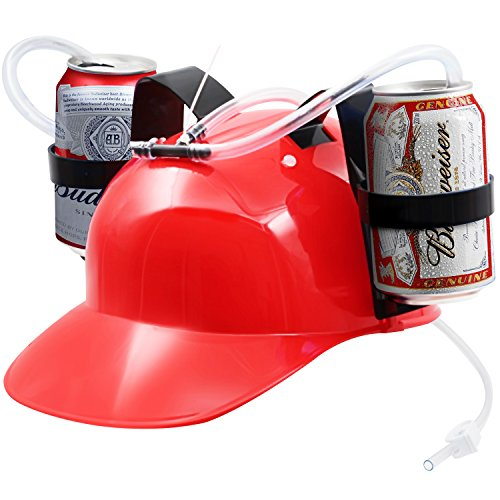 Red Hat Holder - [Novelty Place] Guzzler Drinking Helmet - Can Holder Drinker Hat Cap with Straw for Beer and Soda - Party Fun - Red