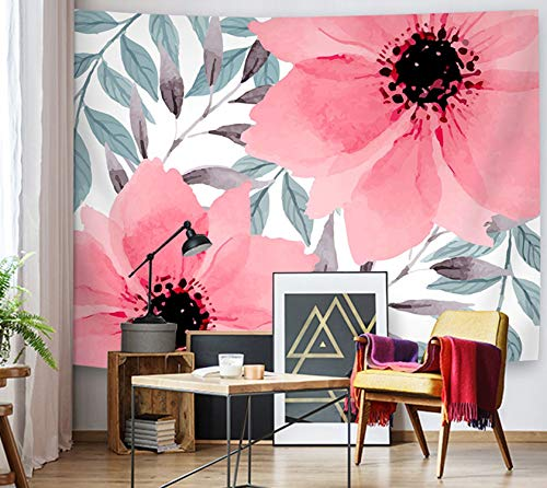 Supermee Pink Flowers Tapestry Wall Hanging Green Leaves Tapestry Red Floral Wall Blanket Home Decor Bedroom Living Room Dorm Decor, 79X59 Inch