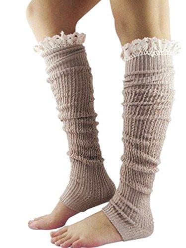 Décorations Dentelle En Chaussettes Crochet Pour Jelinda Bordure Apos;hiver Solide Knit Jambière Poignets Kaki Femme 4vRRZcqa