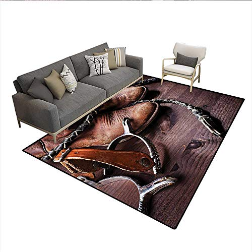 Floor Mat,Authentic Old Leather Boots and Spurs Rustic Rodeo Equipment USA Style Art Picture Print,Small Rug Carpet,Brownsize:5'x8'