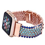 Apple Watch Band, 38mm FresherAcc Feminine CZ Sapphire Crystal Rhinestone Breathable Mesh Chain Bracelet Replacement iWatch Strap Women Girls for Apple Watch Series 2 Series 1 All Version