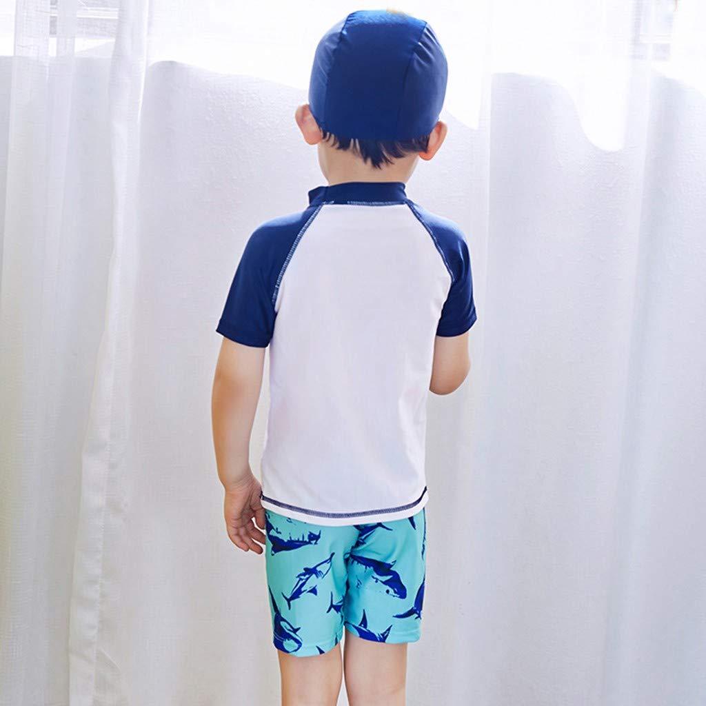 Print Shorts 1-2 Years, White Hat Swimsuit Set Children Kids Boys Girls Cartoon Swimsuit Swimwear Sets,Childrens Short Sleeve Cartoon Shark Sunscreen Top